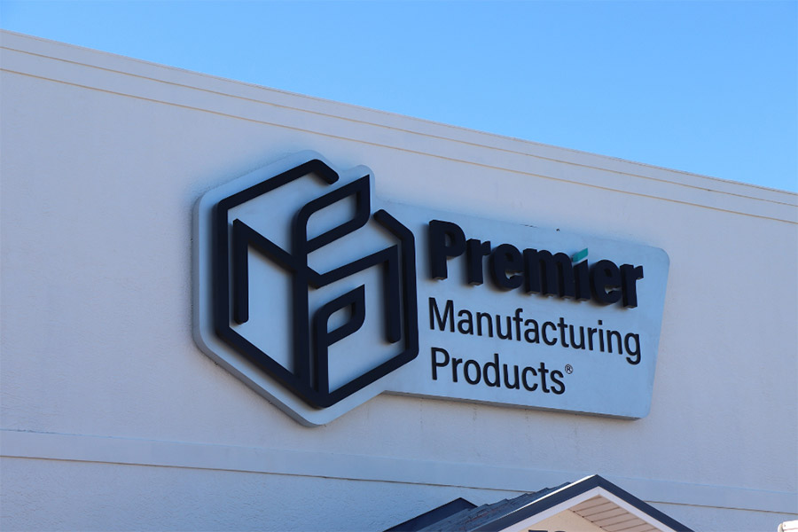 Premier Manufacturing Products Signage on Corporate headquarters
